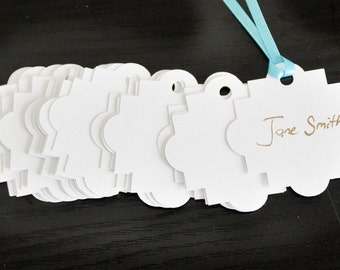 200 Medallion Paper Tags - 2 inch - White - Bulk Price, DIY, Gift Tags, Die Cut tags, Scrapbooking, Wedding tags, Food Label, Price Tags