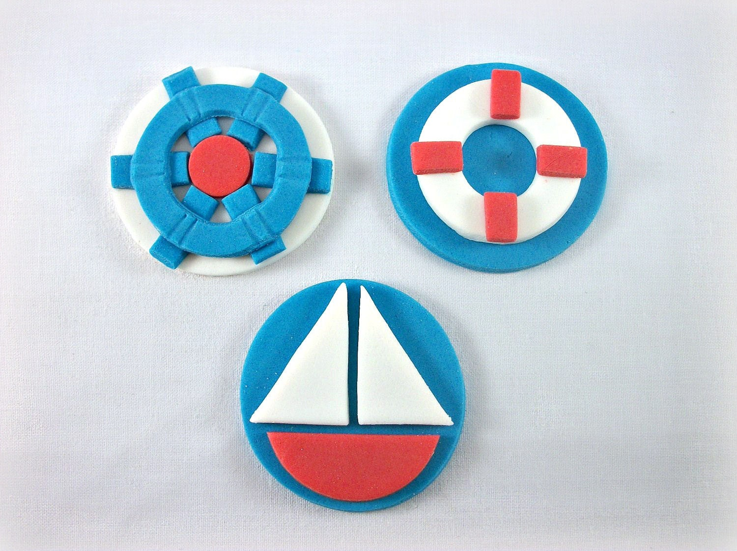 Nautical Cupcake Fondant Toppers Nautical Baby shower