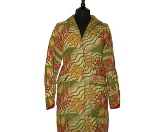 KANTHA JACKET - Small - Classic style - Size 8/10 - Olive green, beige with red and mustard yellow flowers.