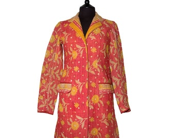 KANTHA JACKET - Small - Classic style - Size 8/10 - Coral with yellow flowers. Same pattern front and back.