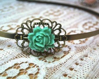 Antique-style headband bronze rose turquoise