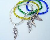 MILAGRO Guardian Angel Wings glass beads string bracelet