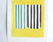 Striped abstract Painting. Small artwork acrylic on paper. Yellow and black striped art. Mid century modern style - BureauofAbstractions