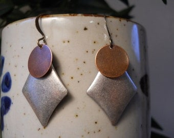 Antique silver, gold and copper drop earrings