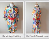 Vintage 1980's Shirt Dress w/ Floral Abstract Print