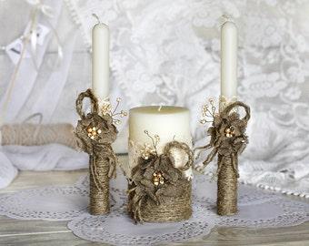 Wedding Unity Candle, Burlap Flowers Personalized Wedding Candle, Rustic Candle Set, Unity Ceremony, Pillar Candle, Ceremony Candle, 3 pcs