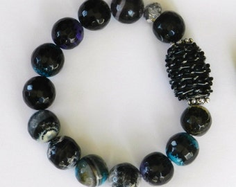 Black/Blue/Purple Faceted Agate Bead Bracelet with Beaded Focal Bead