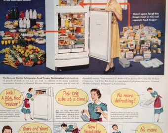 Vintage 1951 General Electric Refrigerator Ad, Paper Ephemera taken from a Ladies Home Journal.