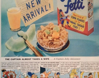 Vintage 1953 Post Corn-Fetti Cereal Ad, Paper Ephemera from a Life Magazine.