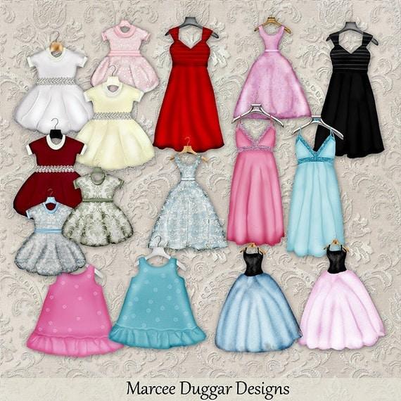 Dress Shop Digital Scrapbook Dresses