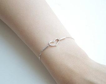 Infinity Heart Bracelet - Silver Heart Bracelet - Fashion Bracelet - Sterling Silver Bracelet - Heart Charm - Thin Silver Bracelet
