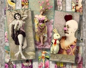 """Vintage Entertainers - 1x2"""" Dominoes  - Digital Collage Sheet (052 - instant download"""