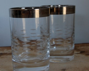 Mad Men Era Silver Tipped Etched Glass Votive -1950s