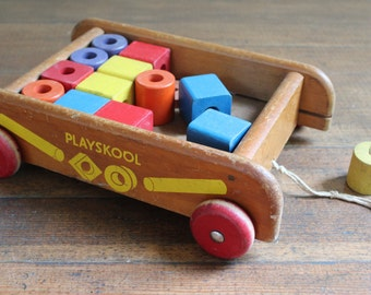 Vintage Children's Toy - Wooden Playskool Cart / Wagon and Blocks