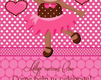 Ballarina Monkey Birthday Party Invitations - Ballarina Monkey Party - Ballarina Monkey Birthday