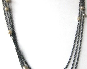 Antique 65-Inch Gun Metal Chain Necklace With 13 Glass Pearls