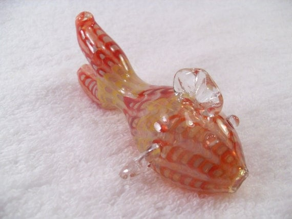 Fish pipe medium shaped novelty glass pipe by rightleftbrains for Glass fish pipe