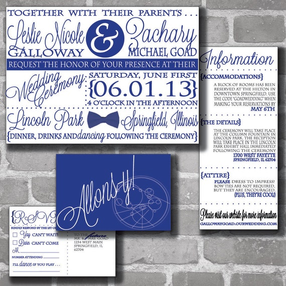 custom doctor who digital gallifreyan wedding invitation set