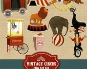 Circus Clip Art - Vintage Circus Clipart Highly Detailed with lion, seal, elephant, tiger and tent (commercial or personal)