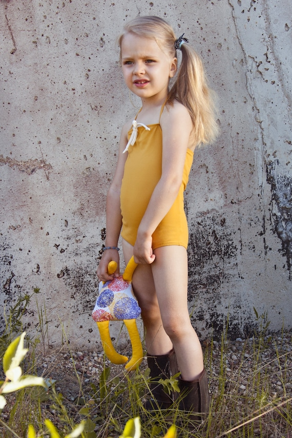 Items Similar To Baby Girl Deep Yellow Retro Style Swimsuit With Cream White Bow Vintage