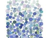 Serenity Watercolor Art print blue dots watercolor painting Pantone 2016 watercolor print abstract painting