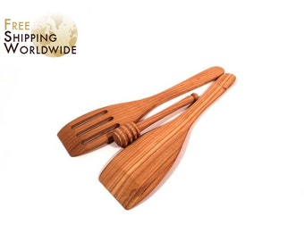 Wooden Spatulas SET and Honey Dipper - One Regular and One Slotted Spatula with Honey Dipper from Cherry wood - 3