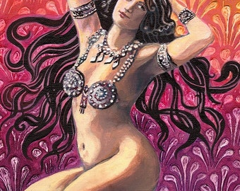 Kamakhya  5x7 Greeting Card Tantric Psychedelic Bohemian Belly Dance Goddess Art