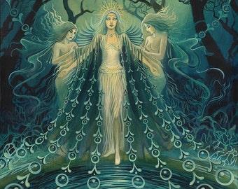 Nyx Greek Goddess of the Night Psychedelic Bohemian Art 11x14 Print Pagan Goddess Art