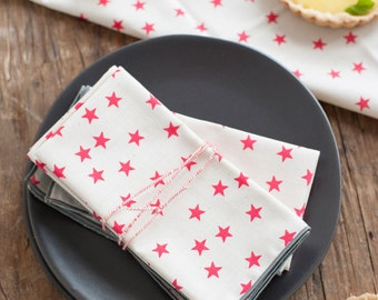 Watermelon Stars Cloth Napkin, Set of 4, Trimmed in Gray
