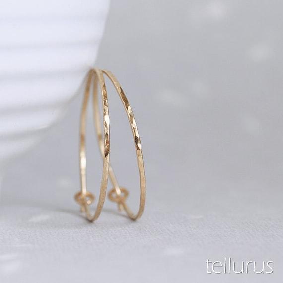 Flint Hoops - hoop earrings 14K goldfill hammered facets