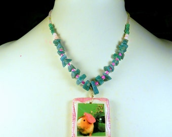 GUINEA PIG Necklace Pink & Green - OOAK Pink and White Handsculpted Polymer Clay Photo Pendant with Glass and Malachite Beads