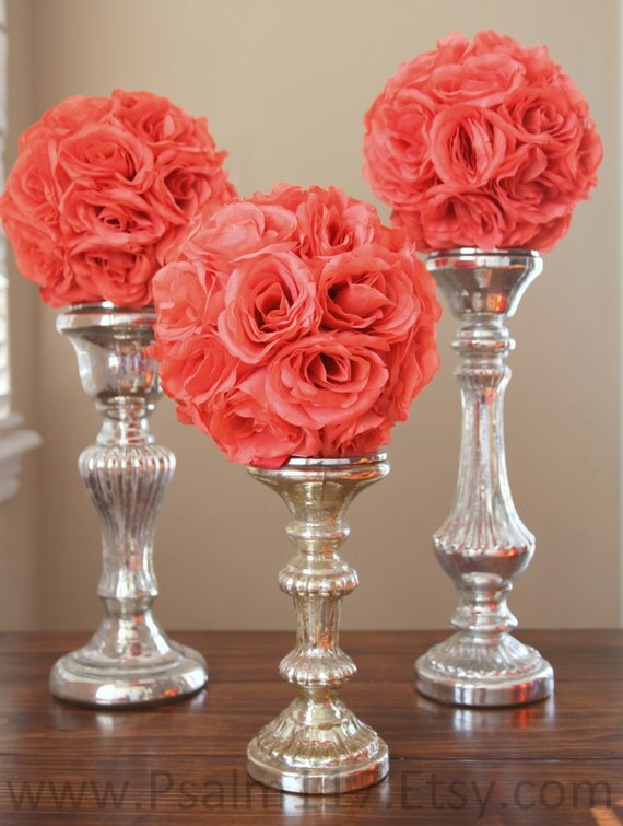 Inch wide coral wedding pomanders reserved for