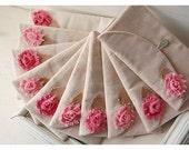 Set of 8 -ONE BAG FREE- Bridesmaid Clutch Purse, burlap shabby Linen, Bridesmaid Gift, Wedding purse clutch raw linen Personalize MakeUp