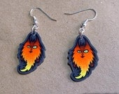 Twitchy the fire cat demon monster - Feeping Creatures acrylic earrings
