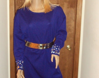 Evan Picone Wool Mini Dress  Blue  Rhinestone Cuffs Size S  Hong Kong