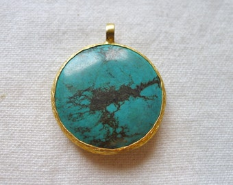 30mm Round Turquoise Pendant, 22K Gold Plated