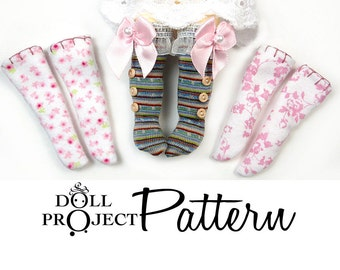 NEW Doll Socks Patterns PDF Tutorial : How to sew socks for Lati Yellow Amelia Thimble Blythe AG American Girl Puki Patsy Dolls