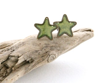 Avocado Green Star Stud Earrings, Small Hypoallergenic Studs, Nickel Free Earrings for Sensitive Ears, Gifts for Little Girls, Unisex Studs