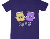 SALE PB and J V-neck T-shirt Peanut Butter Jelly Cute Love Retro Adorable Blue Tshirt Chef Snack Best Friends Food Tri Indigo Shirt V-neck