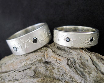 Silver Olive Branch Wedding Ring, Peace, Leaves, Olives, Black Diamond, DELICIOSO - SymBand Collection