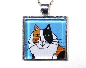 Calico Cat Pendant SALE/ Longhair Kitty on Blue