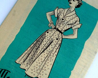 Vintage 1950s Dress Pattern Marian Martin 9374 Bust 30 Tab Detail Mail Order