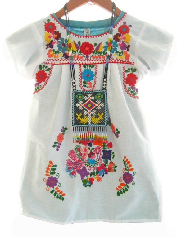 Mexican baby dress white cotton embroidered by aidacoronado