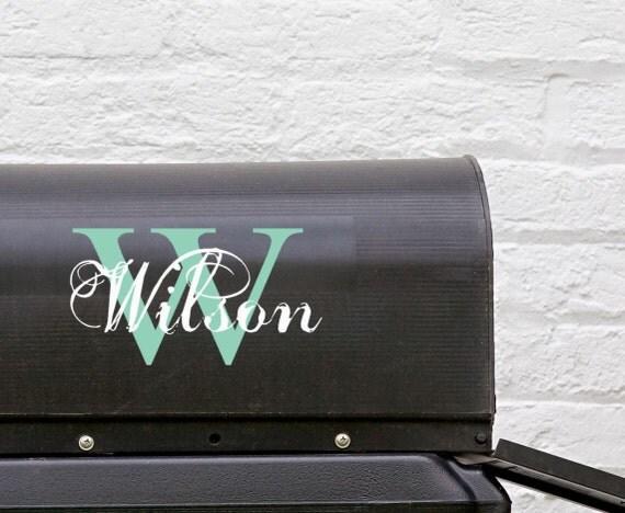 Mailbox decal Custom Monogram alphabet letter with Personalized address vinyl decal  Wedding card box or hostess housewarming