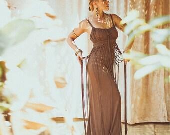 DIONYSES BOHEMIAN DRESS - Organic Boho Hippie Maxi Long Elegant Prom Wedding Party Couture Burning man gift Plus size - Chocolate Brown