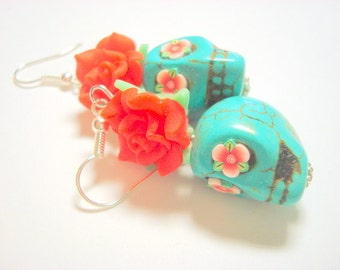 Sugar Skull Earrings Large Red and Turquoise Day of the Dead Roses and Sugar Skulls