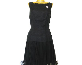 1950s Little Black  Dress / Cocktail Dress / Bombshell Sexy Black Dress / Mad Men Style / Flouncy Skirt  / Audrey Style / Eve Le Coq Dress