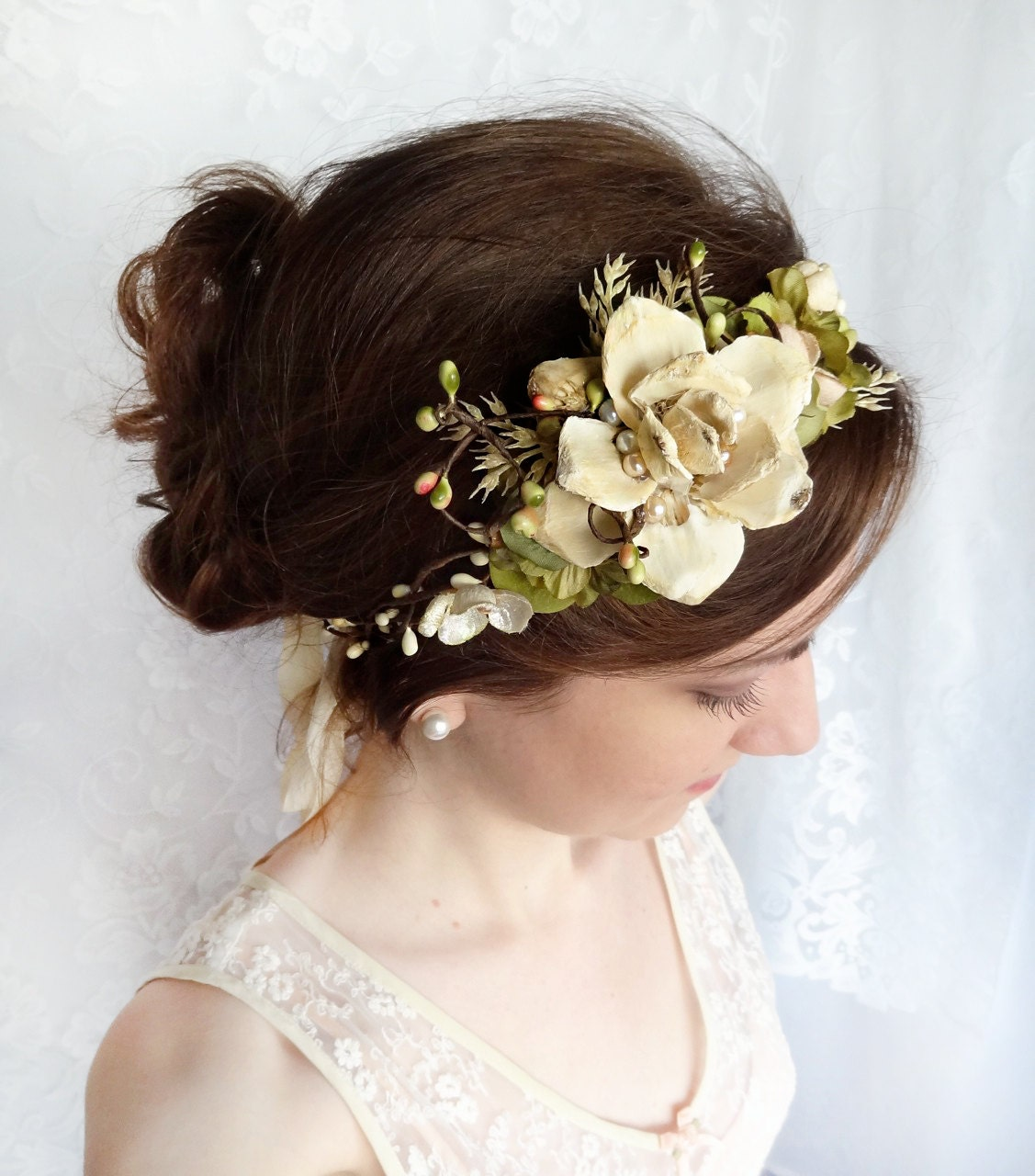 Wedding Flower Headpieces: Woodland Wedding Headpiece Cream Flower Champagne Wedding