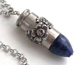 Blue Lapis Roses Bullet - Steampunk Necklace Jewelry