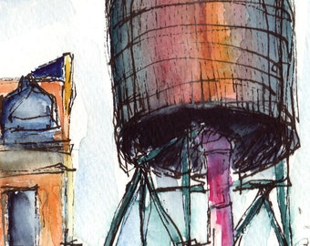 Art Painting  Watercolor Landscape NYC  Urban Rooftop Water Tower Ink PRINT